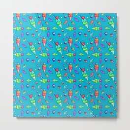 Bright Colors Ice Cream Pattern Metal Print
