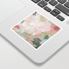 Forest Green Fuchsia Blush Pink Abstract Flower Spring Painting Art Sticker