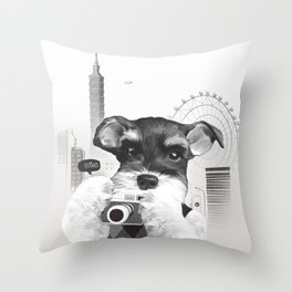 Schnauzer with Camera Throw Pillow