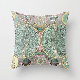 Vintage Astronomy Chart - Star Chart - Circa 1772 Throw Pillow