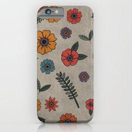 Flower Pattern (GRAY) iPhone Case