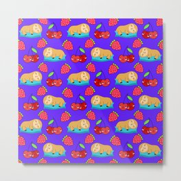 Cute funny sweet adorable little sleeping baby sloths, little cherries and red ripe summer strawberries cartoon fantasy purple blue pattern design Metal Print