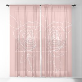 Rose Flower With Leaves One Line Art Sheer Curtain