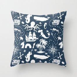 High Seas Adventure on Navy Throw Pillow