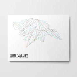 Sun Valley, ID - Minimalist Trail Map Metal Print