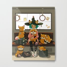 Witch and the magic foxes   Metal Print