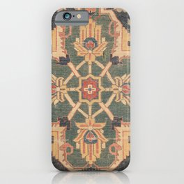 Geometric Leaves VI // 18th Century Distressed Red Blue Green Colorful Ornate Accent Rug Pattern iPhone Case