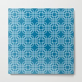 Mosaic Blue Geometric Lattice Metal Print