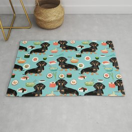 dachshund sushi black and tan doxie dog breed cute pattern gifts Rug