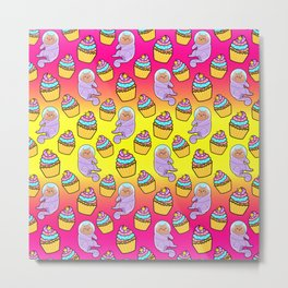 Cute sweet adorable Kawaii cats, funny colorful yummy cupcakes yellow pink pattern design. Space suits and astronauts. Metal Print