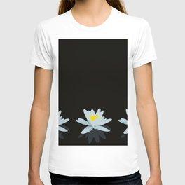 Waterlily Flowers On Black Background #decor #society6 #buyart T-shirt