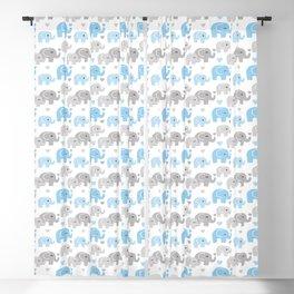Blue Gray Elephant Baby Boy Nursery Blackout Curtain