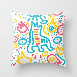Doodle Graffiti Art Graphic Abstract Pattern  Throw Pillow