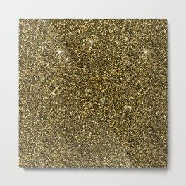 modern dark gold glitter and sparkled shine Metal Print