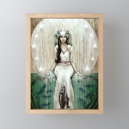 Swim Beyond // Mermaid Whale Moon Stars Sharks Ocean Sea Underwater Goddess Mother Beach B Framed Mini Art Print