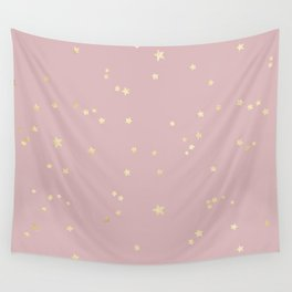 Pretty Pink & Gold Stars Wall Tapestry