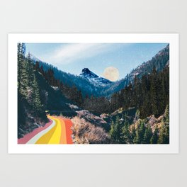 1960's Style Mountain Collage Kunstdrucke