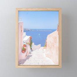 Santorini Greece Mamma Mia pink street travel photography Framed Mini Art Print