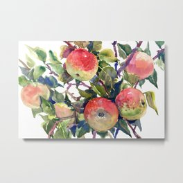 Apple Tree, apples green red kitchen fruits art Metal Print