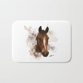 Brown and White Horse Watercolor Bath Mat