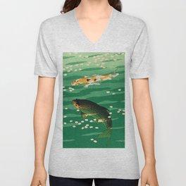 Vintage Japanese Woodblock Print Asian Art Koi Pond Fish Turquoise Green Water Cherry Blossom Unisex V-Neck