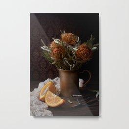 ORANGE - FLOWERS - IN - BROWN - VASE - BESIDE - SLICED - ORANGE - FRUIT - PHOTOGRAPHY Metal Print