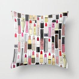 Lipsticks Makeup Collection Illustration Throw Pillow