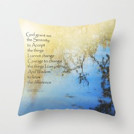 Serenity Prayer Pond Reflections Throw Pillow