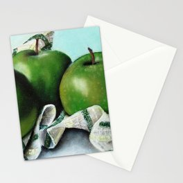 Green Apple and Tea Towel II Stationery Cards