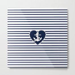 Modern navy blue white heart anchor nautical stripes Metal Print