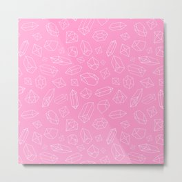 Pink Crystal Pattern Line Drawing Metal Print