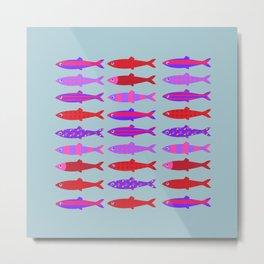 Colorful fish school pattern Metal Print