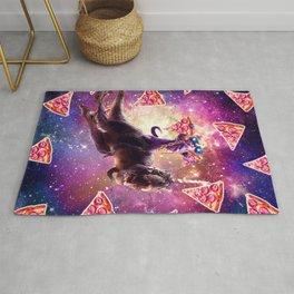 Thug Space Cat On Dinosaur Unicorn - Pizza Rug