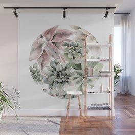 Circular Succulent Watercolor Wall Mural