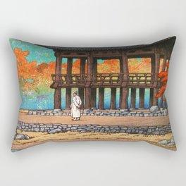 Kawase Hasui - The Eight Views Of Korea, Hakuyo Temple, Sokei Tower - Digital Remastered Edition Rectangular Pillow