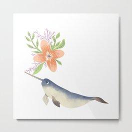 Narwhal Flowers Orange Blossom Metal Print
