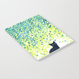 Cat in the garden under willow tree Notebook