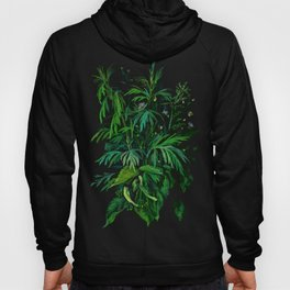 Summer Greenery, Green & Black, Floral Painting Hoody