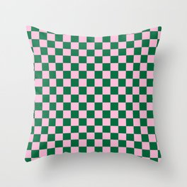 Cotton Candy Pink and Cadmium Green Checkerboard Throw Pillow