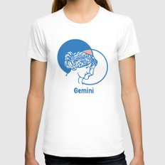 Gemini White SMALL Womens Fitted Tee