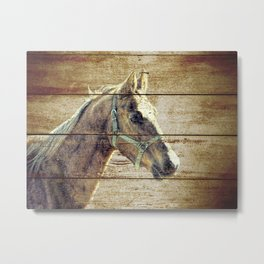 Rustic Brown Cream Horse Cottage Chic Country Decor Barn Art A019 Metal Print