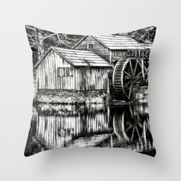The Old Mill Black and White Throw Pillow