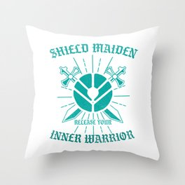 Scandinavian Folklore Viking Valkyrie Norse Mythology Shield Maiden Release Your Inner Warrior Gift Throw Pillow