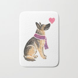 Watercolour German Shepherd Dog Bath Mat