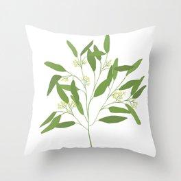 Seeded Eucalyptus Minimal Botanical Illustration Throw Pillow