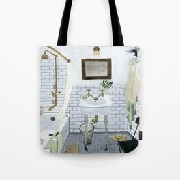 In The Bathroom Tote Bag