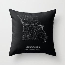 Missouri State Road Map Throw Pillow