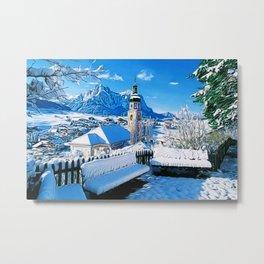Kastelruth Dolomites, South Tyrol, Italian Winter Landscape Metal Print