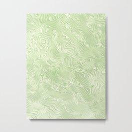 Lime Green Silk Moire Pattern Metal Print