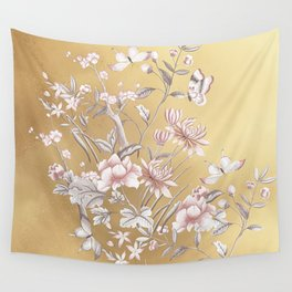 Chinoiserie Gold Wall Tapestry